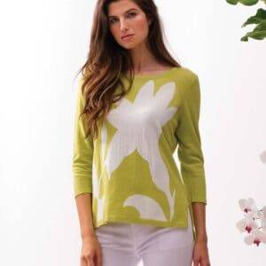 Alison Sheri 3/4 length sleeve 100% cotton top in lime spring 2021