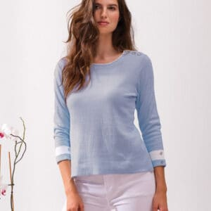 Alison Sheri light blue top with 3/4 sleeve with detail