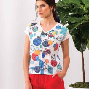 Alison Sheri short sleeve multi color top 65% polyester and 35%viscose